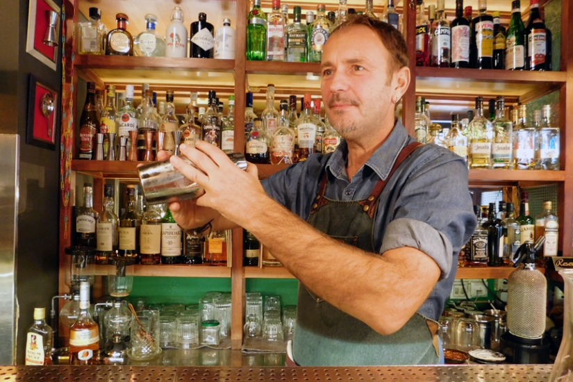 Mario Basso the likker behind the bar