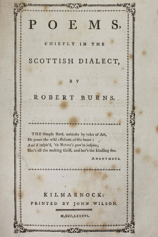 Robert Burns poems chiefly in the scottish dialect