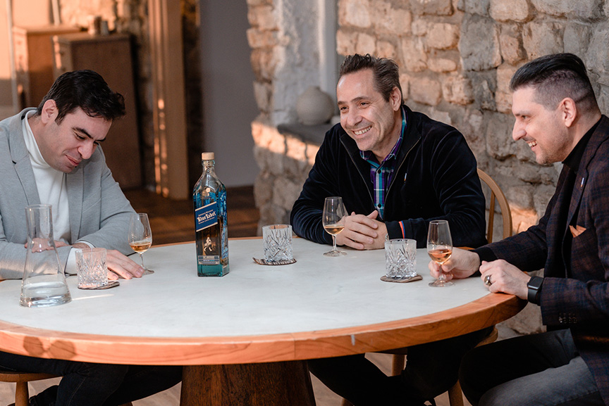Yiannis Karakasis MW George Economidis and Yiannis Milionis tasting Johnnie Walker Blue Label