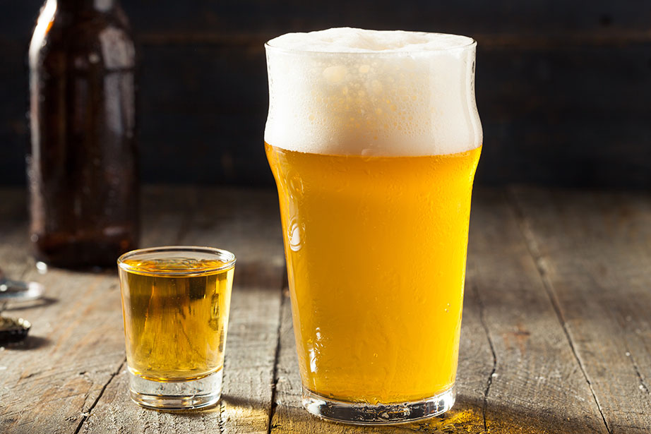 Boilermaker whiskey and beer